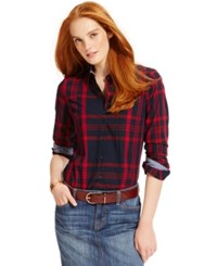 Tommy Hilfiger Plaid Button Down Shirt Navy Red