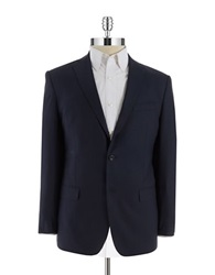 Michael Kors Two Button Checkered Blazer Navy