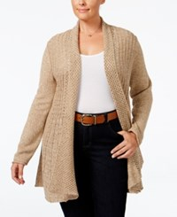 Ny Collection Plus Size Marled Pointelle Fan Back Cardigan Tan Marl