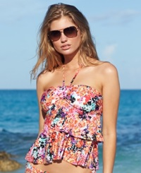 Kenneth Cole Reaction Floral Print Tiered Ruffle Tankini Top Women's Swimsuit