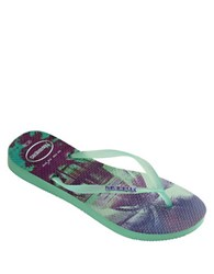 Havaianas Slim Paisage Rubber Thong Sandals Light Green
