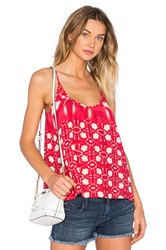 Velvet By Graham And Spencer Harlow Atlantis Print Scoop Neck Tank Red