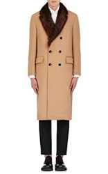 Thom Browne Men's Fur Lapel Double Breasted Coat Tan