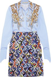 Mary Katrantzou Montague Embellished Printed Cotton Blend Shirt Dress Blue
