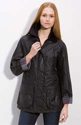 Women's Barbour 'Beadnell' Waxed Cotton Jacket Black