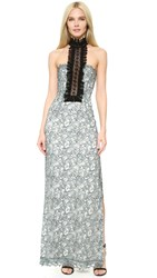Yigal Azrouel Ruffle Front Lace Gown Pale Blue Multi