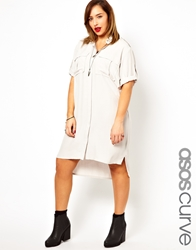 Asos Curve Exclusive Shirt Dress With Military Detail Grey