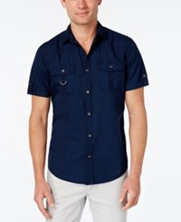 Inc International Concepts Men's Adenine Short Sleeve Shirt Only At Macy's Basic Navy