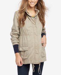 Daniel Rainn Maternity Drawstring Jacket Taupe