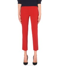 Max Mara Cropped Stretch Wool Trousers Red