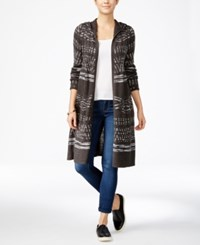 Hooked Up By Iot Juniors' Hooded Midi Cardigan Dark Grey Heather Charcoal Space Dye Combo