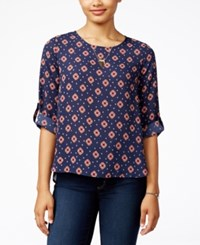 Hippie Rose Juniors' Printed Roll Tab Blouse Navy Combo