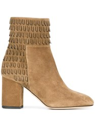 Elie Saab Fringed Detailing Ankle Boots Nude Neutrals