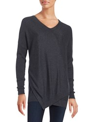 Lord And Taylor Layered Knit Sweater Charcoal Heather