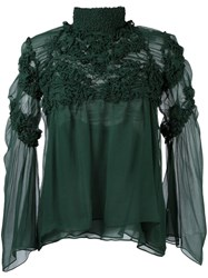 Chloe Embroidered Chiffon Blouse Green