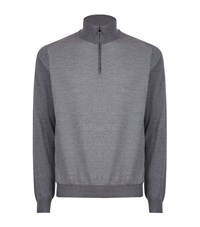 Corneliani Zip Knit Sweater Male Light Grey