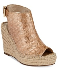 Kenneth Cole New York Women's Olivia Espadrille Peep Toe Wedges Women's Shoes Beige Metallic
