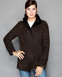 The Fur Vault Shearling Stand Collar Jacket Dark Brown
