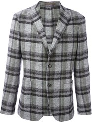 Eleventy Plaid Blazer Grey