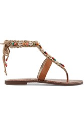 Gerome Embellished Macrame And Leather Sandals Tan