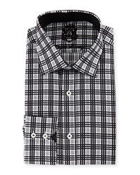 English Laundry Plaid Woven Dress Shirt Black White