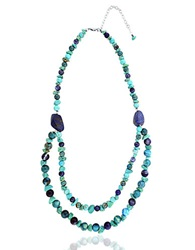 Lord And Taylor Beaded Double Strand Collar Necklace Blue