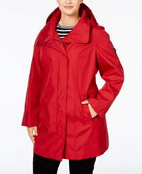 Calvin Klein Plus Size Hooded Raincoat Red