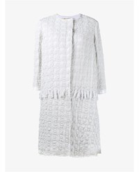By Walid Tassel Embellished Cotton Crochet Coat White Linen