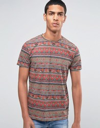 Esprit Crew Neck T Shirt With All Over Aztec Print Multi