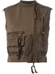 Haider Ackermann Biker Gilet Brown