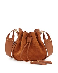Isabella Fiore Urban Quilted Suede Crossbody Bag Chestnut