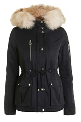 Topshop Short Padded Parka Jacket Navy Blue