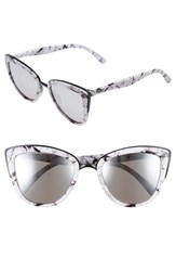 Quay Australia Junior Women's 'My Girl' 50Mm Cat Eye Sunglasses White Marble Silver Mirror White Marble Silver Mirror