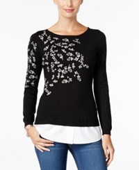 Charter Club Embroidered Layered Look Sweater Only At Macy's Deep Black
