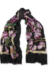 Dolce And Gabbana Floral Print Cashmere Scarf Purple