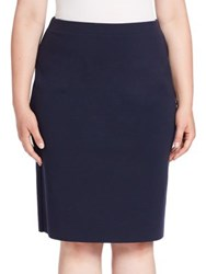 Stizzoli Plus Size Solid Wool Blend Skirt Navy