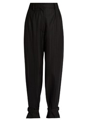 Hillier Bartley Strap Hem Striped Trousers Black Stripe