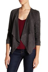 14Th And Union Faux Suede Drape Jacket Petite Gray
