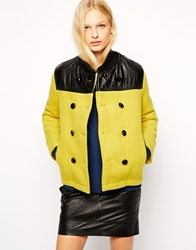 Ymc Double Breatsed Coat With Contrast Leather Yoke Yellow