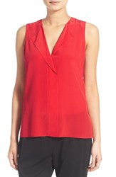 Trouve Women's Trouve V Neck Sleeveless Silk Top Red Bloom