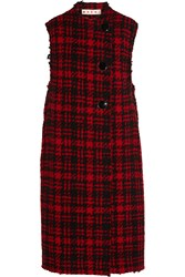 Marni Checked Wool Blend Tweed Vest Red