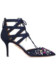 Aquazzura Floral Embroidered Pumps Blue
