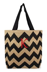 Cathy's Concepts Personalized Chevron Print Jute Tote Grey Black Natural K