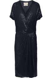 Jason Wu Beaded Silk Chiffon Wrap Effect Dress Blue