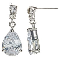 John Lewis Cubic Zirconia And Teardrop Glass Drop Earrings Silver