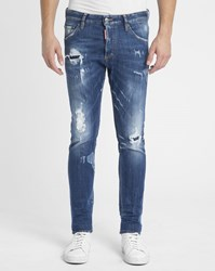 Dsquared Blue Destroy Patched Skinny Jeans
