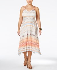American Rag Plus Size Printed Midi Dress Only At Macy's Living Coral Combo