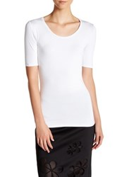 Catherine Malandrino Elbow Length Sleeve Tee White