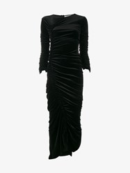 Preen Hitch Ruched Velvet Dress Black