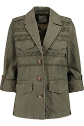 Joie Evandale Embroidered Cotton Canvas Jacket Green